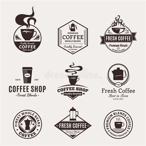 design elements of a coffee shop set of vector coffee shop labels icons and design