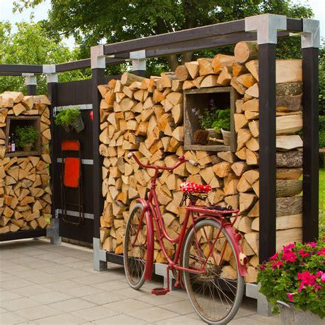 Sichtschutz Mit Brennholz by Kaminholz Regal Cubic Mit Premiumpfosten Schwarz