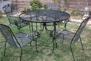 Wrought Iron Patio Tables Vintage Wrought Iron Patio Set Table 4 Armchairs By
