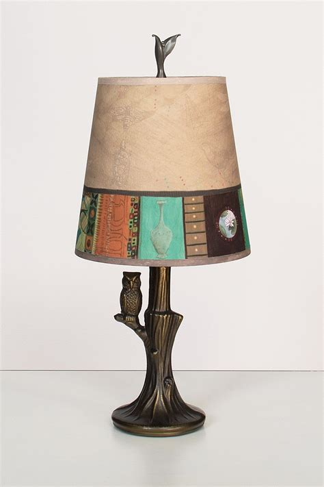 bronze owl l with small drum shade in linen match by