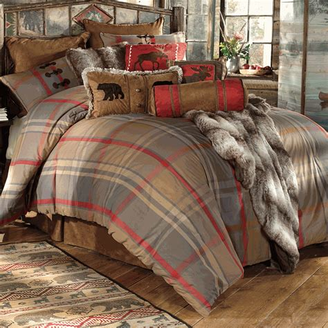 rustic bedding mountain trail plaid moose bear bedding