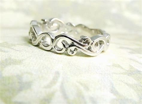 Wedding Ring Wave Design by Custom Made Wedding Ring Scroll Design Wave Ring By