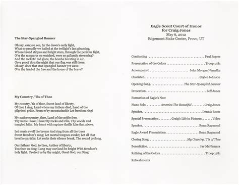 eagle scout court of honor program template craig s keepsakes family history treasures