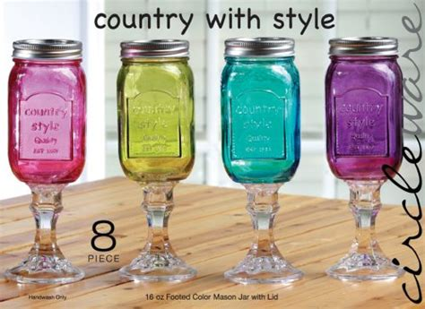 country style footed jar wine glasswith lid 16 oz - Country Style Glasses