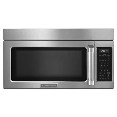 kitchenaid microwave hood fan kitchenaid khmc1857bsp 1 8 cu ft microwave hood
