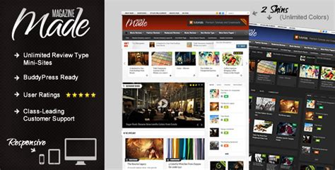 Made Responsive Review Magazine Theme Themeforest Buddypress Template Pack