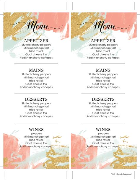 Design Templates Menu Templates Wedding Menu Food Menu Bar Menu Template Bar Menu Menu Design Template