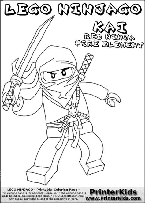 lego ninjago coloring pages kai dx lego ninjago kai with sword coloring page crafty kids