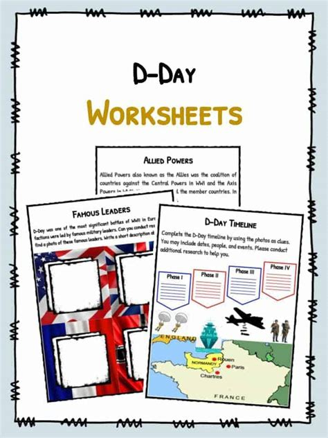 d day worksheet d day facts worksheets historical battle significance