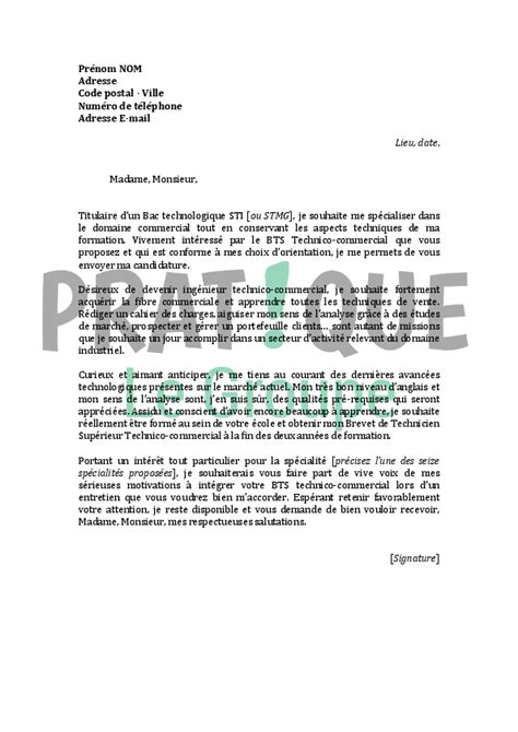Lettre De Motivation Pour Int Grer Un Bts Banque Lettre De Motivation Pour Un Bts Technico Commercial Pratique Fr