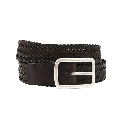 brunello cucinelli mens leather woven belt in black for
