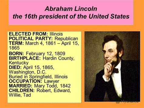 what year was abraham lincoln elected president презентация на тему quot abraham lincoln the 16th president