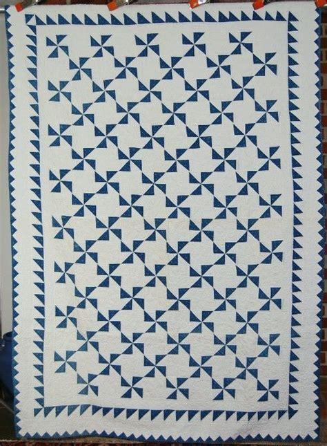 Sawtooth Quilt Border by Vintage 1890 S Indigo Blue White Pinwheels Antique Quilt