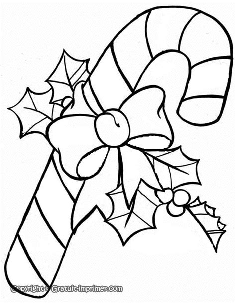 coloriage de noel canne à sucre, houx, et noeud … | Colour