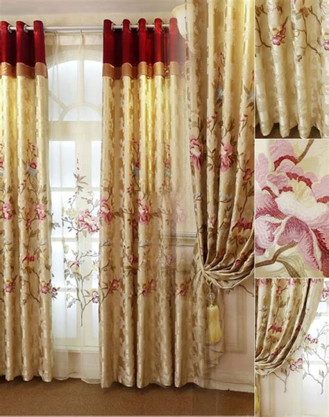 European Style Living Room Curtains Gold Floral European Style Blackout Curtain For Living Room