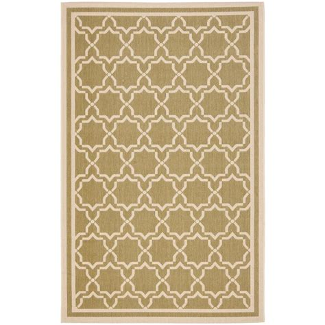 Home Depot Indoor Outdoor Rugs Safavieh Courtyard Green Beige 5 Ft 3 In X 7 Ft 7 In Indoor Outdoor Area Rug Cy6916 244 5