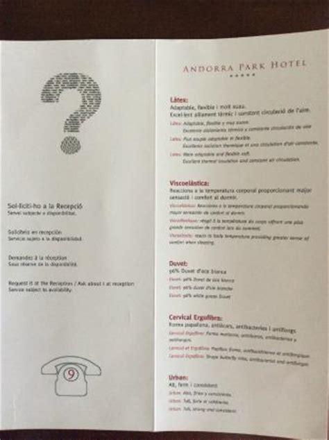 carta de almohadas fotografia de andorra park hotel andorra la vella tripadvisor