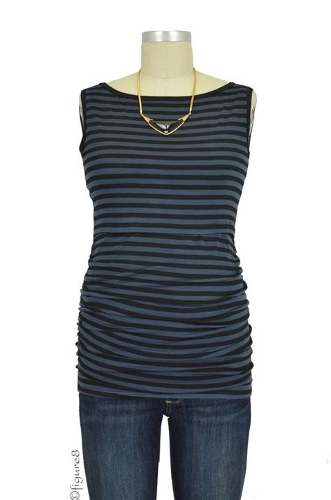Baju Stripe Blouse Es baju sleeveless boatneck nursing top in charcoal black stripes