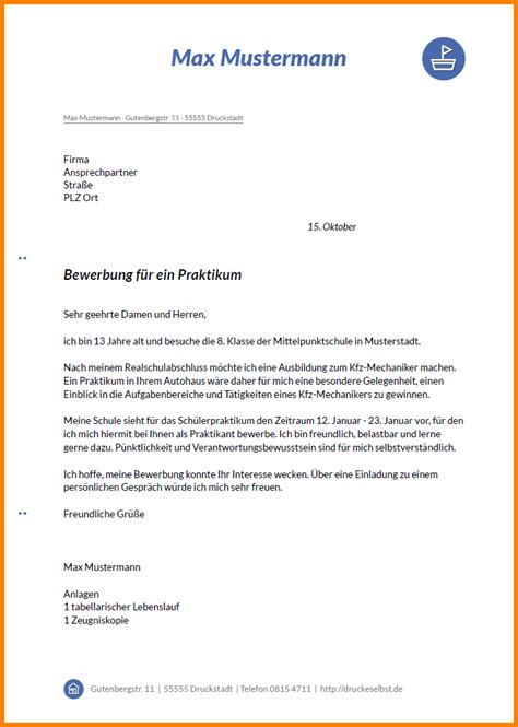 Bewerbungsschreiben Praktikum Bank Muster 2 Bewerbungsschreiben Sch 252 Lerpraktikum Muster Resignation Format