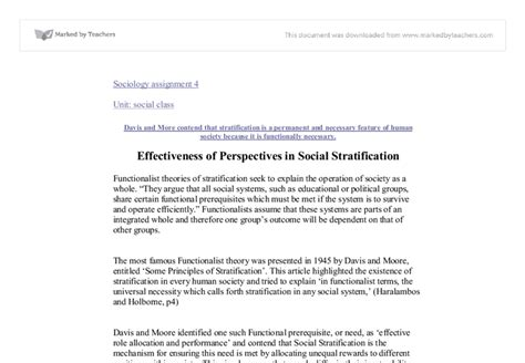 Social Stratification Essays by Effectiveness Of Perspectives In Social Stratification A Level Sociology Marked By Teachers