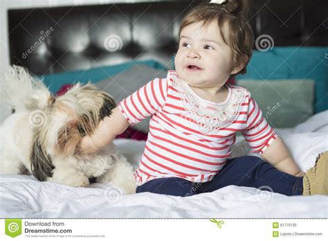 1 year old bed one year old girl in bed stock photo image of enjoyment