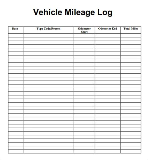 mileage log template free image gallery mileage log