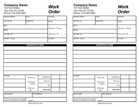 work order template   word excel