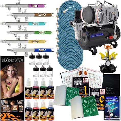 airbrush tattoo kit airbrush temporary stencils paint compressor kit 6