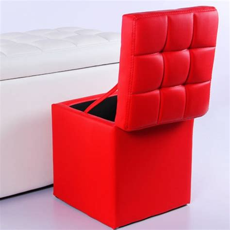 Colorful Storage Ottomans Multifunctional Colorful Leather Stools Modern Fashion Pu Solid Rectangle Ottoman As Storage Box