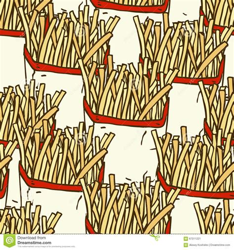 paper pattern in french seamless pattern with french fries in a paper wrapper