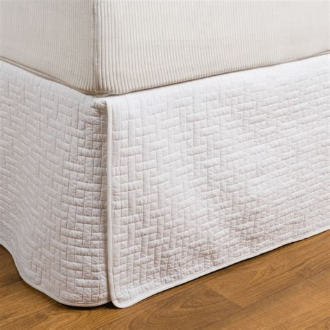 Quilted Bedskirt by Hill Home Landon Quilted Cotton Bed Skirt In White