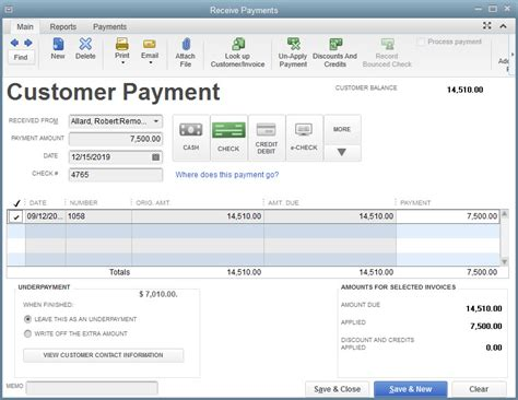 receiving payments in quickbooks