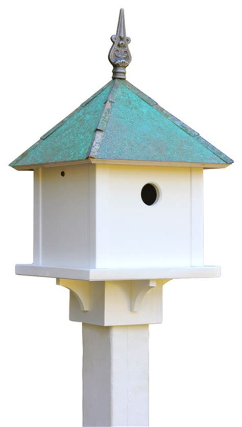 skybox bird house with cellular pvc and verdigris copper