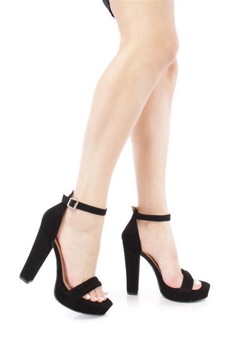 open high heels black open toe chunky high heels