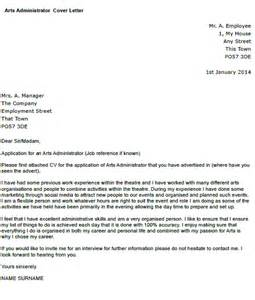 Clearcase Administration Cover Letter by Arts Administrator Cover Letter Exle Icover Org Uk