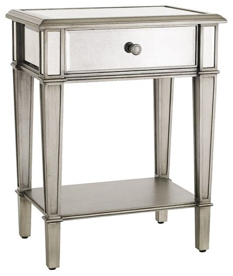 White And Silver Nightstand Hayworth Nightstand Silver Traditional Nightstands And Bedside Tables Other By Pier 1