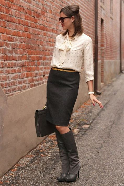 pencil skirt with knee high boots substance on the