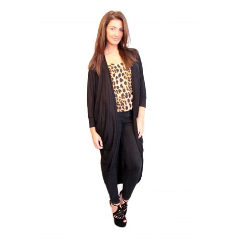 draped cardigan emmie black long length black draped jersey cardigan from