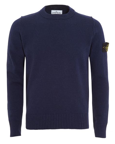 Knitwear Badge Blue island mens jumper navy blue arm badge sweater