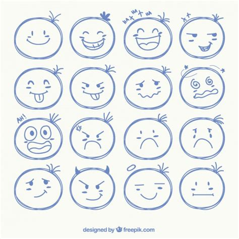 short cuts for large faces sketchy face icons vector free download