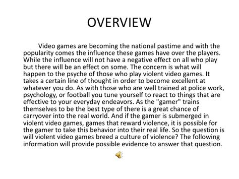 Videogames And Violence Research Paper by Effect On Children Research Paper