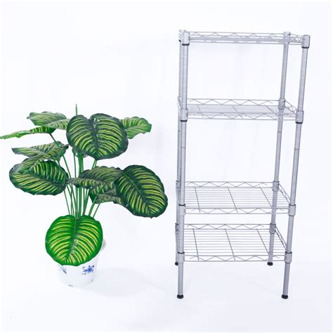 4 tier wire shelving steel rack shelf adjustable unit