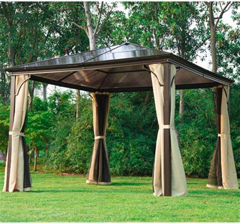 gazebo with mosquito nets and curtains outsunny 10 x 10 ft deluxe hard top waterproof gazebo
