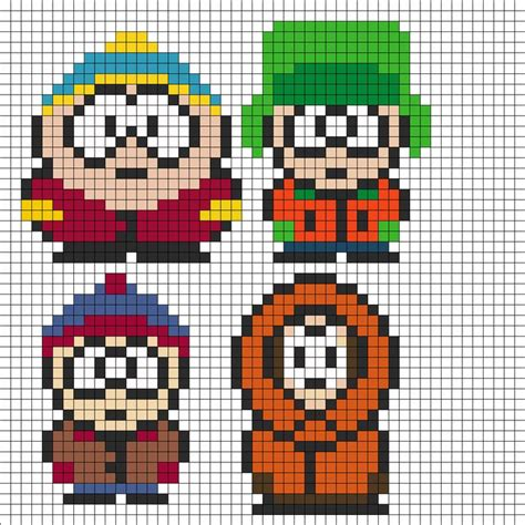 fuse bead patterns free south park perler bead pattern bead sprites characters