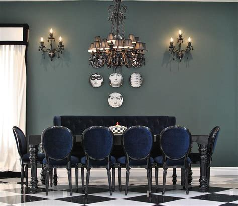fornasetti curtains black tufted dining chairs contemporary dining room