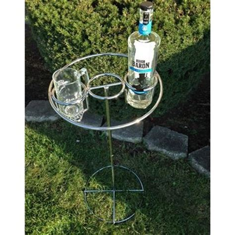 backyard drink holders backyard butler deluxe drink holder heavy duty chrome