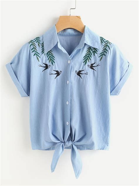 Embroidery Denim Shirt tie front swallows embroidered denim shirt style