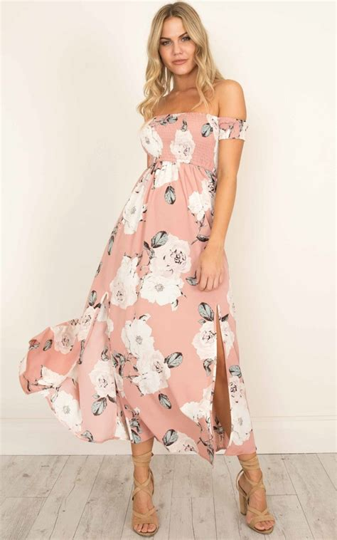Maxi Dusty Pink daytime dancer maxi dress in dusty pink floral showpo
