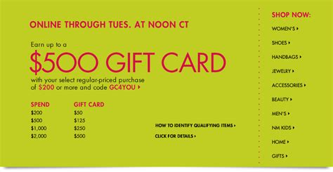 Neiman Marcus Gift Card Promotion - hot deal 50 off everything at neiman marcus personal finance digest