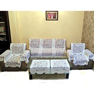 sofa cover set of 16 vivek homesaaz multi embossed net sofa cover set 16